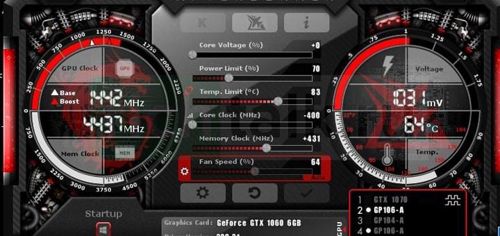 Окно программы MSI Afterburner с измененными параметрами видеокарты GTX 1060