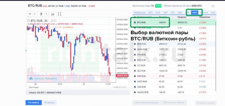 """Скриншот: Выбор торговой пары """"Биткоин-Рубль"""" на криптовалютной бирже EXMO"""