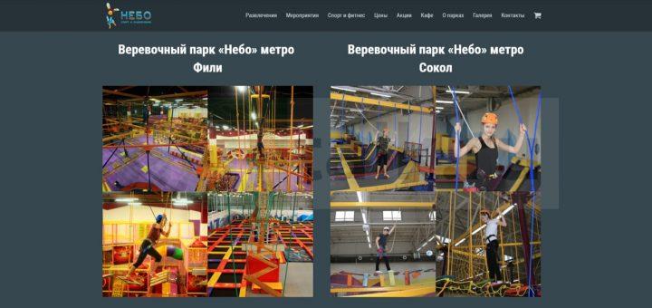 Скриншот сайта предлагающего услуги канатного парка в одном из городов России