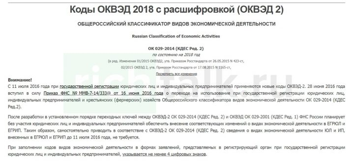 Скриншот с сайта оквэд-2.рф, предоставляющего актуальные коды общероссийского классификатора видов экономической деятельности