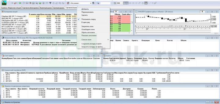 Скриншот торгового терминала quik, предназначенного для торговли на рынке ценных бумаг и валют