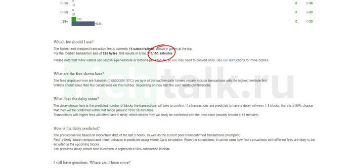Рекомендуемая комиссия за перевод биткоинов